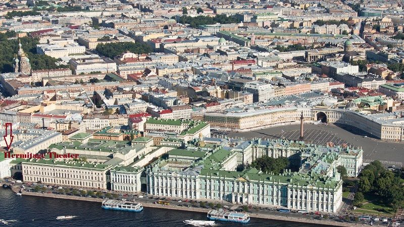 "The Hermitage Museum complex. From left to right: Hermitage Theatre – Old Hermitage – Small Hermitage – Winter Palace (the ""New Hermitage"" is situated behind the Old Hermitage)."