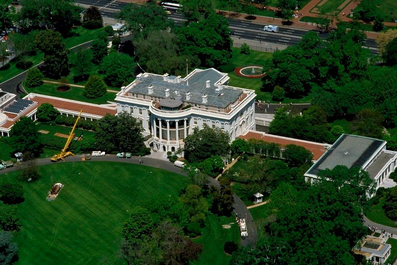 Southern Facade of White House from Above