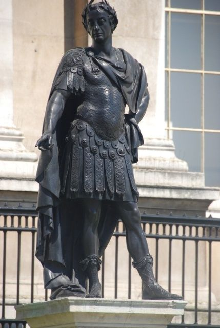 Statue of King James II in front of National Gallery in Trafalgar Square in London in UK