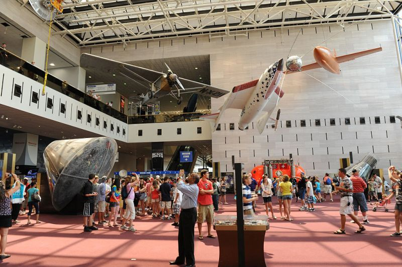 Tourists in National Air and Space Museum