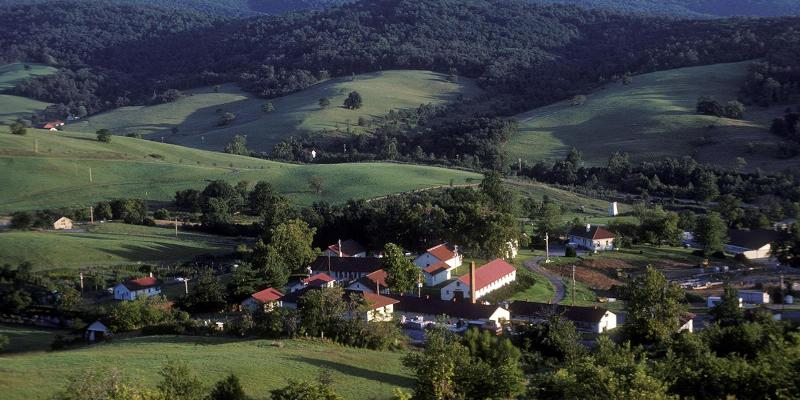 Aerial view of SCBI buildings in Front Royal, Virginia