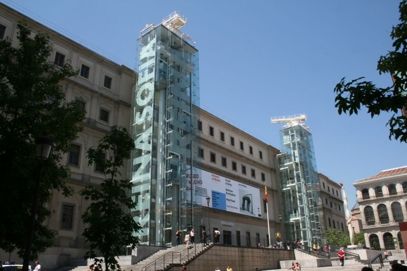 Glass towers in front of Reina Sofia