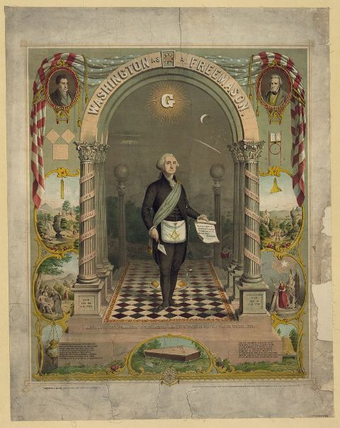 Portrait of George Washington handling trowel