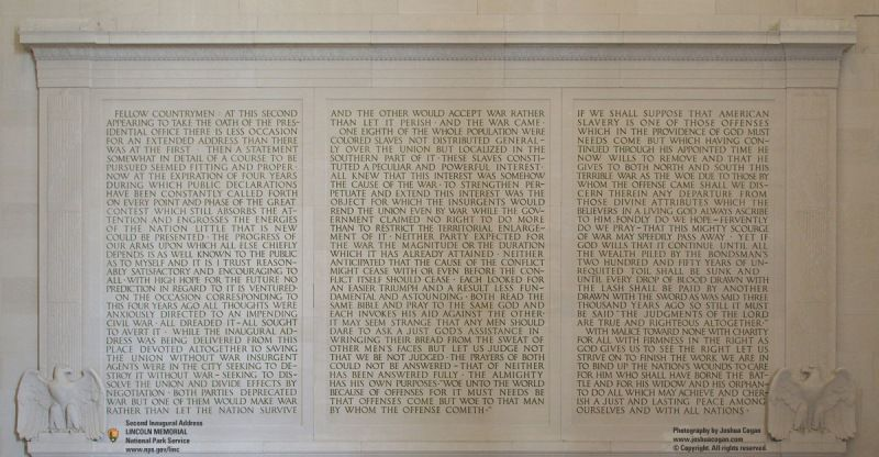 Second Inaugural Address on the north wall
