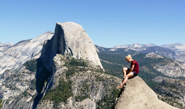 A hiker near Half Dome