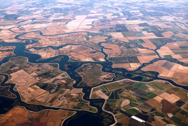 Aerial view of the California Delta