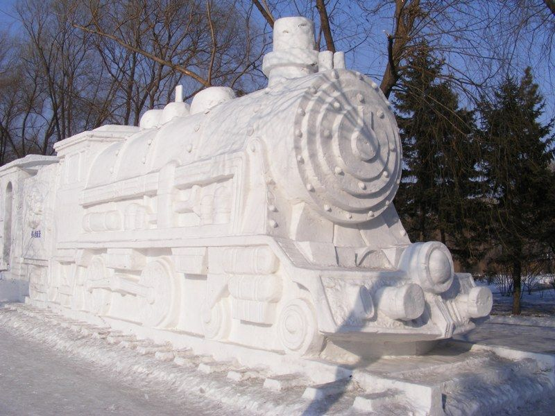 An Ice Sculptor Of Train