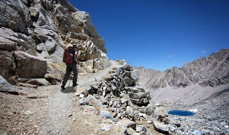 Hiker approaching Forester Pass