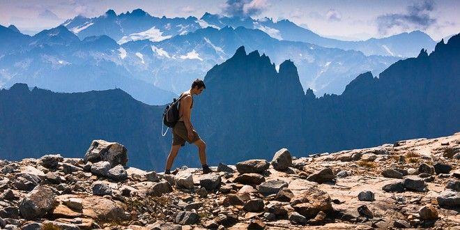 Hiker through Cascade Pass