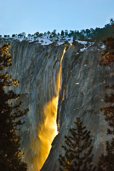 Horsetail falls at the time of Sunset