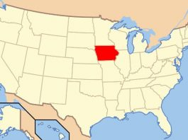 Iowa in red, Map of USA