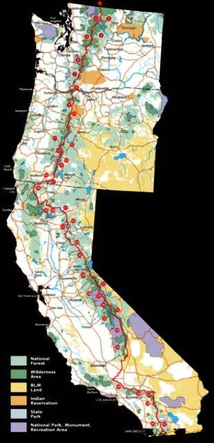 Route Map of Pacific Crest Trail
