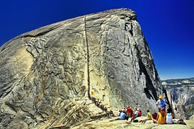People hiking the Half Dome