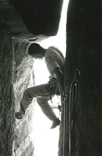 Tom Frost climbing the narrow of Sentinel Rock