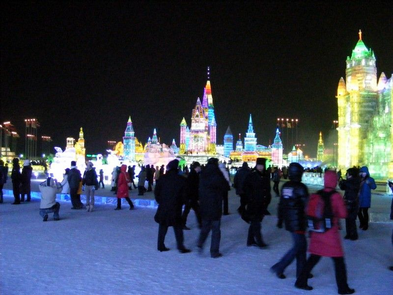 Visitors At Harbin Ice Festival