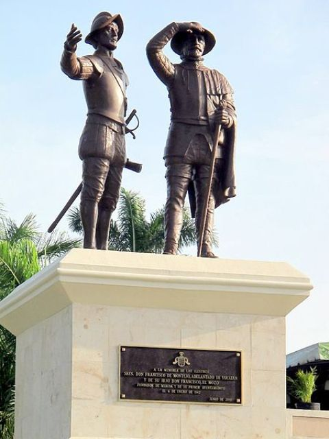 Monument to the Montejo in the walk of its same name in Merida Yucatan Mexico