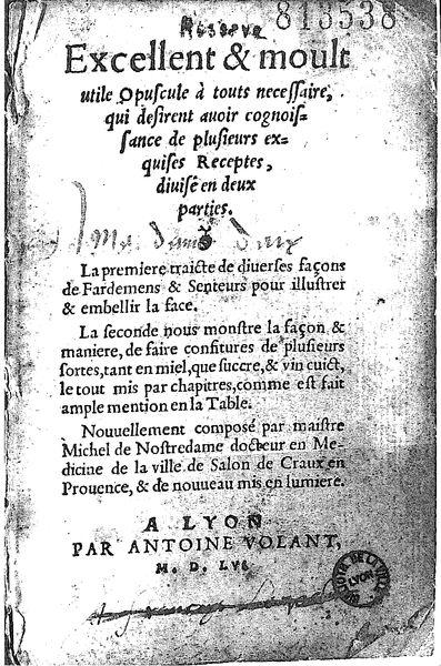 Nostradamus Traité des Fardements