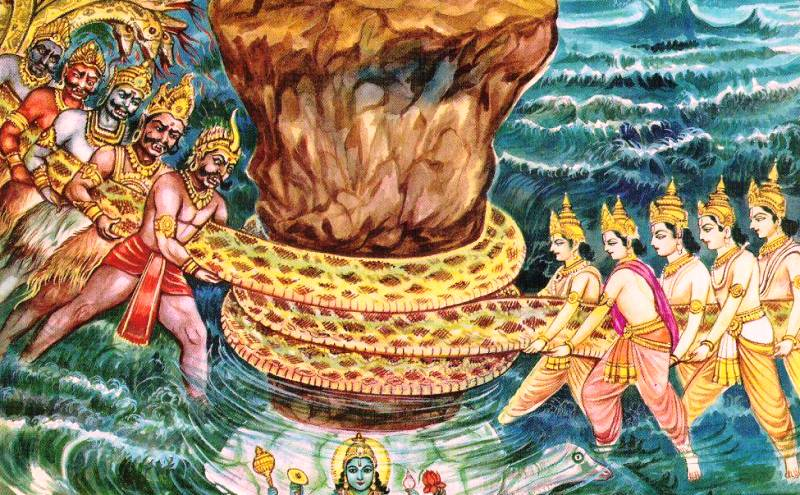 A Depiction Of The Churning Of The Milk Ocean In Hindu Mythology