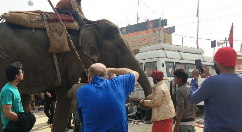 A Foreigner Journalist Clicking An Elephant At The Kumbh Mela