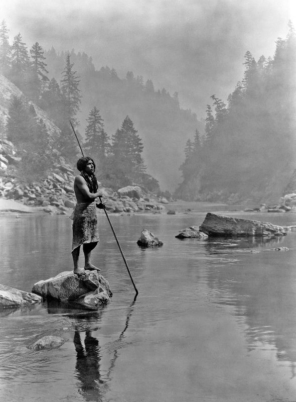 A Hupa Man With His Spear, Hupa Are A Native American