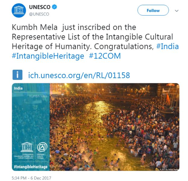 A Post By The UNESCO On Its Twitter Handle About The Inclusion Of The Kumbh Mela On Its List Of Intangible Cutural Heritage