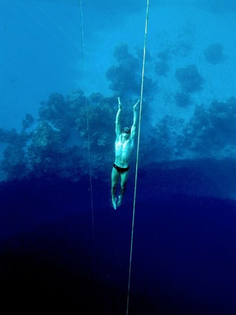 A diver in Dean's Blue Hole