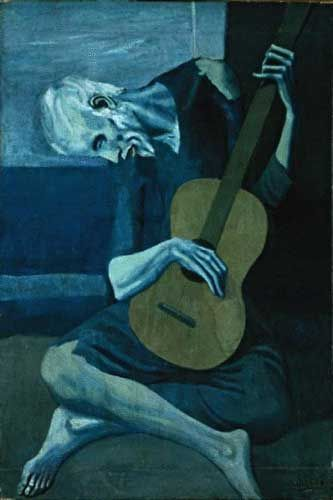 Blue Painting of Picasso, an old guitarist