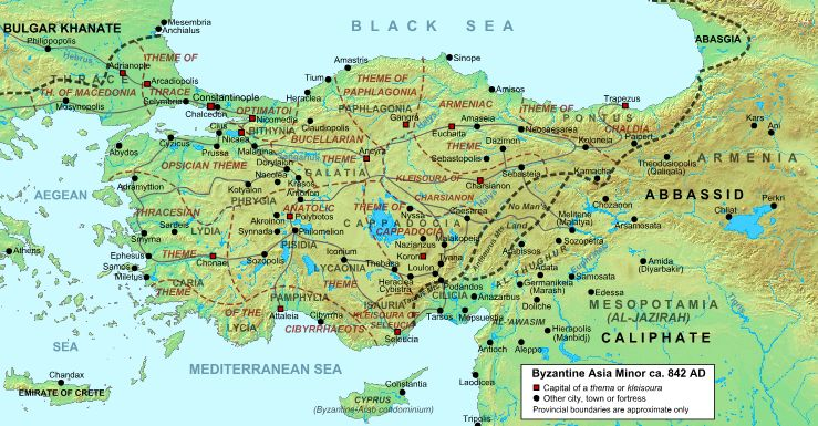 Location of the Aegean Sea and Asia Minor