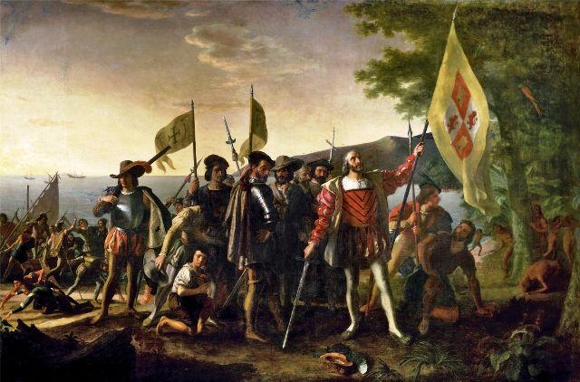 Painting depicting the landing of Columbus