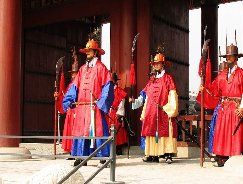 Palace Guards In Gwanghwamun