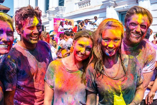 People are celebrating Holi in Spain