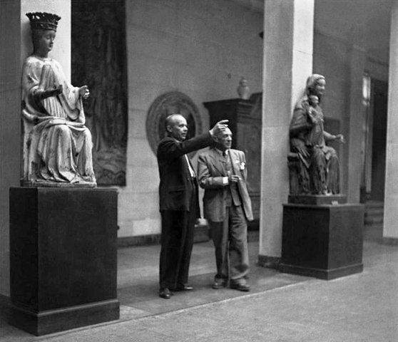 Polish Scholar, Stanisław Lorentz guides Pablo Picasso through the National Museum in Warsaw