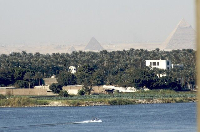 Pyramids can be seen from the Nile river