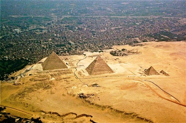 Aerial view of Pyramids of Giza