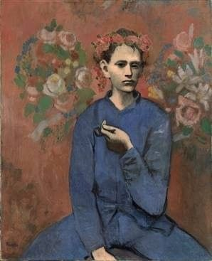 Rose Painting of Picasso, Garçon à la Pipe (Boy with a pipe)