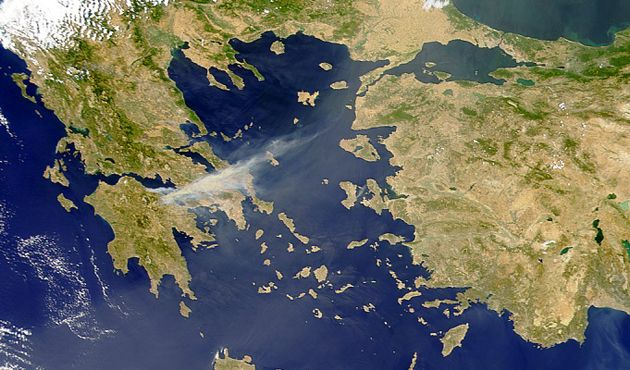 The Aegean Sea view from space