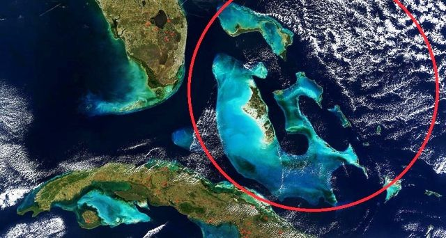 The Bahamas in red circle