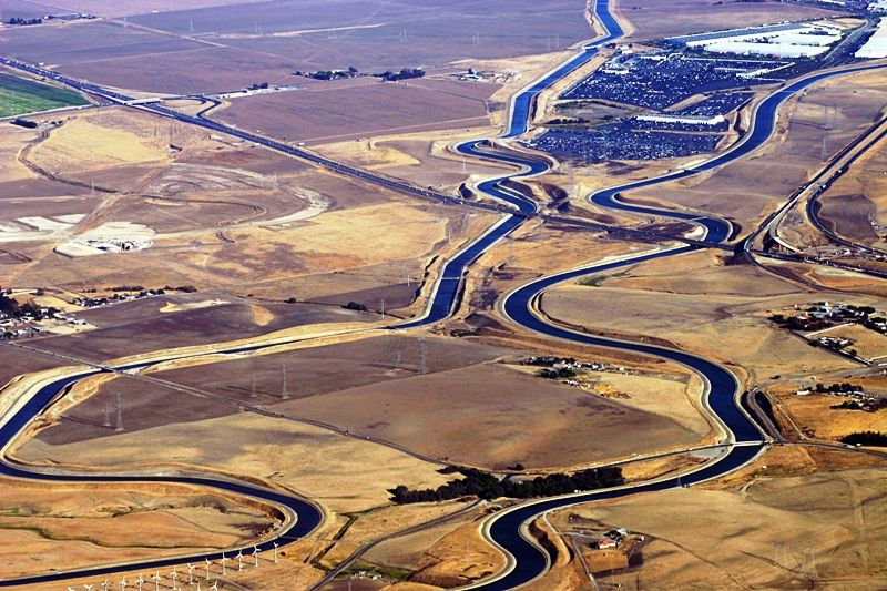 Aerial View Of California's Aqueduct