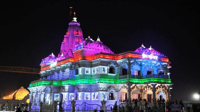 Night view of Prem Mandir Vrindavan