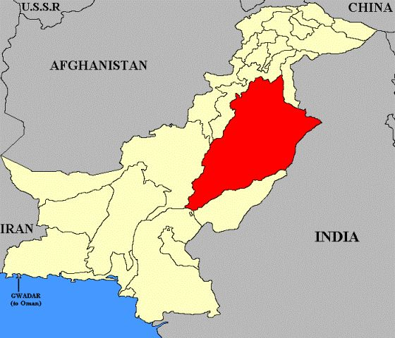 Punjab Map of Pakistan in red