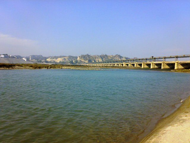 Sutlej River flowing through Ropar Dam, Punjab