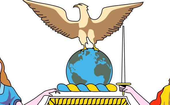Bald Eagle on the top of the globe
