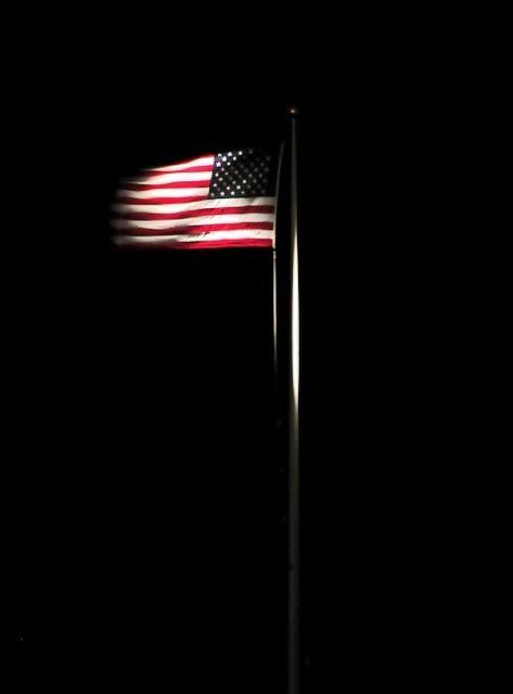 Illuminated US flag