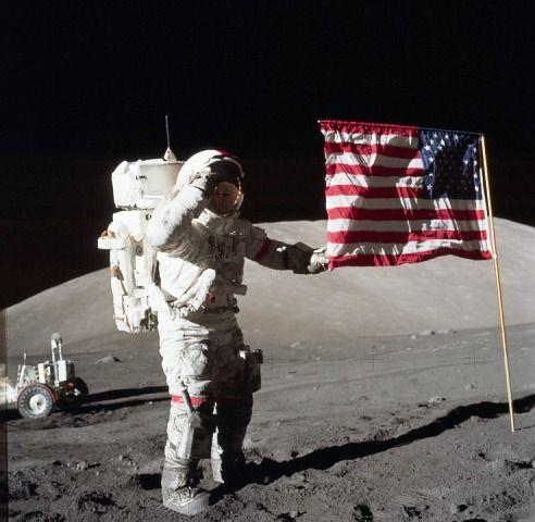 The US Flag on Moon