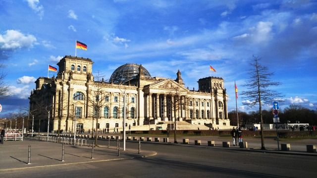 German Flags on German Federal Parliament