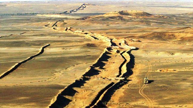 Aerial view of Moroccan Western Sahara Wall