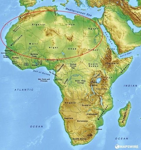 Saharan Countries in Red circle