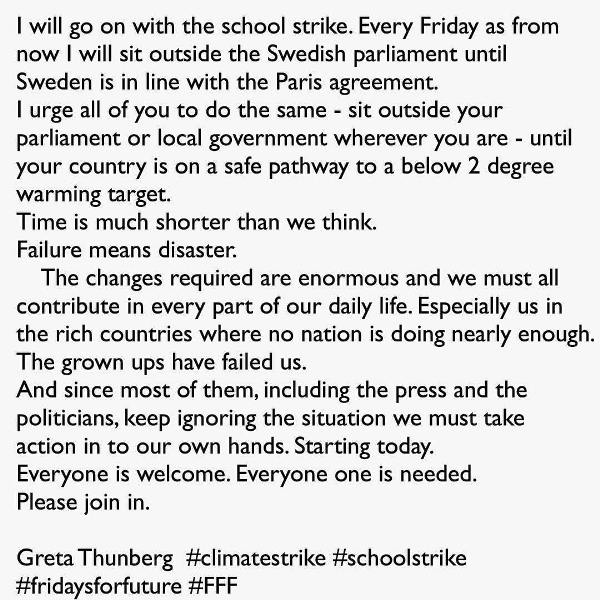 Greta Thunberg Instagram Post About Her School Strike