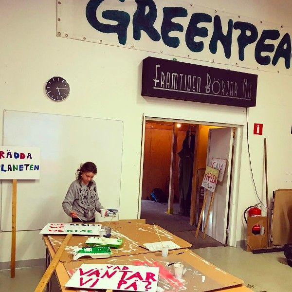 Greta Thunberg Making Placards