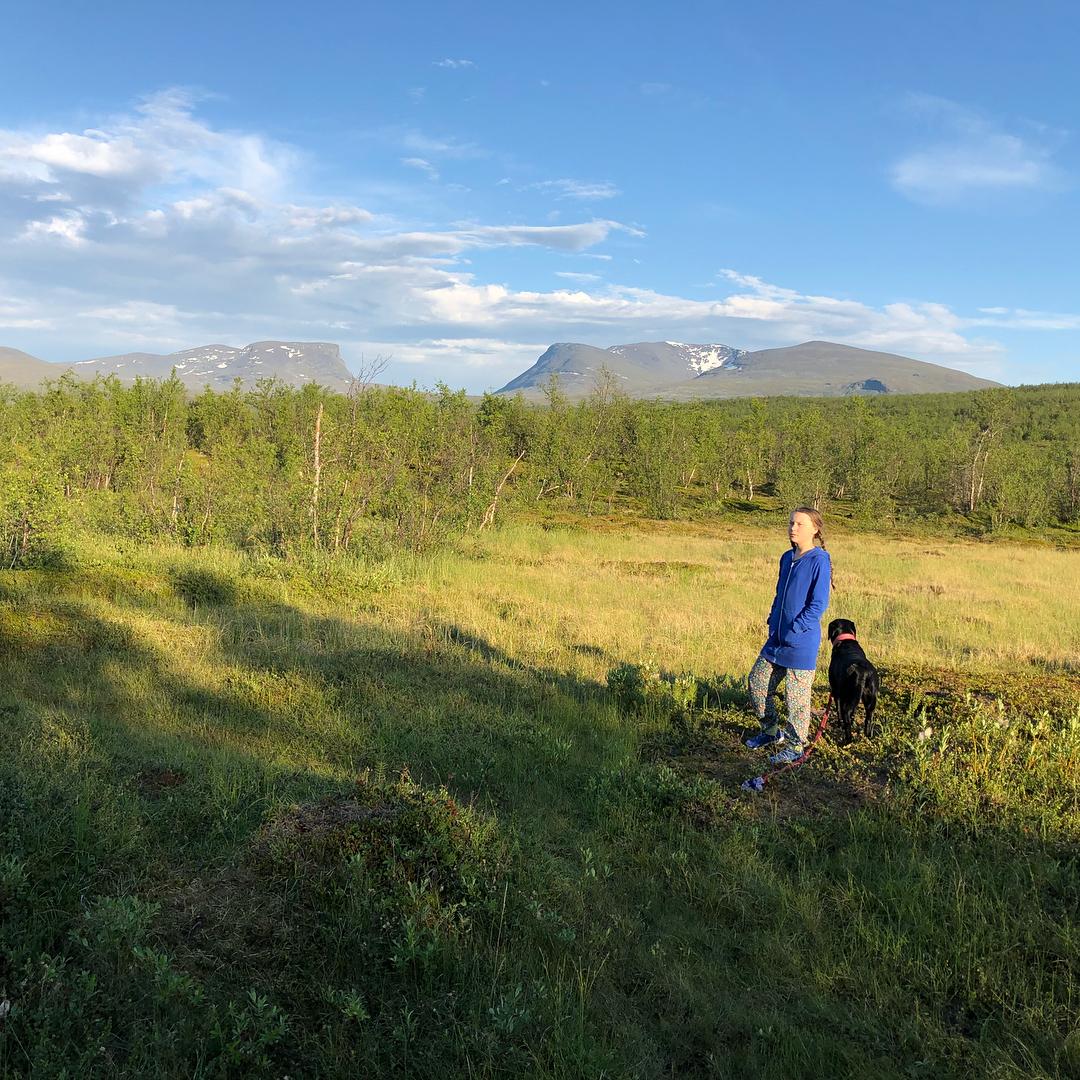 Greta Thunberg Strolling With Her Pet Dog